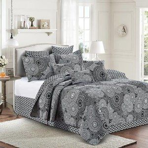 King Size 3pc Quilt Set Kyoto Black and White